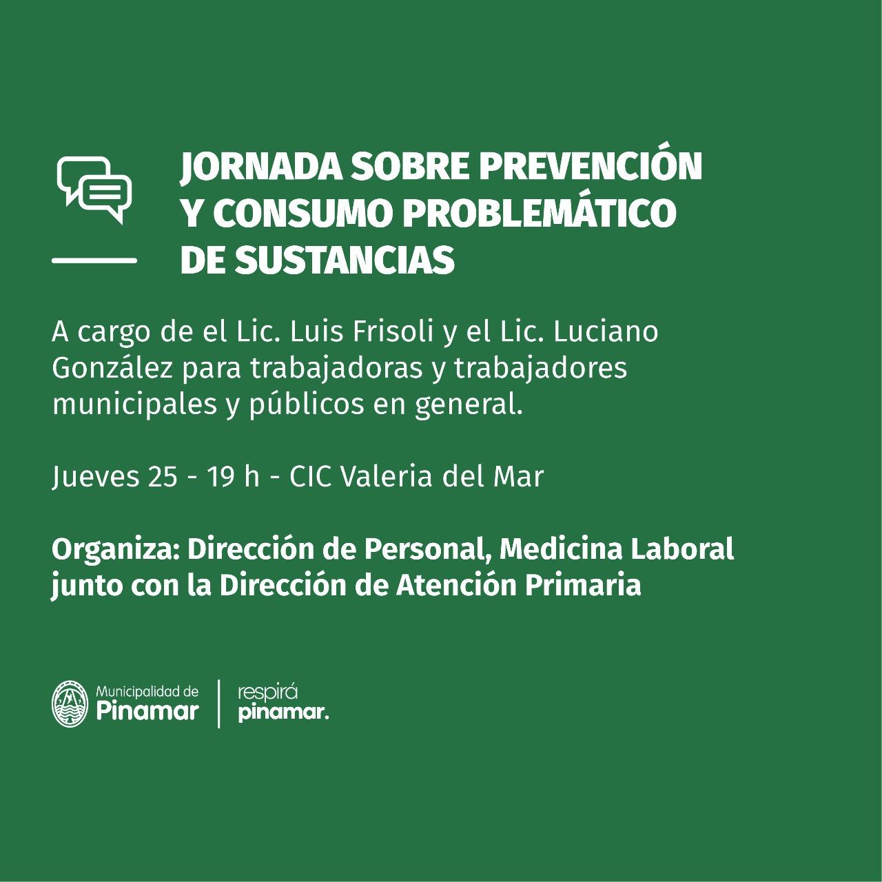 JORNADA SOBRE PREVENCIÓN Y CONSUMO PROBLEMÁTICO DE SUSTANCIAS